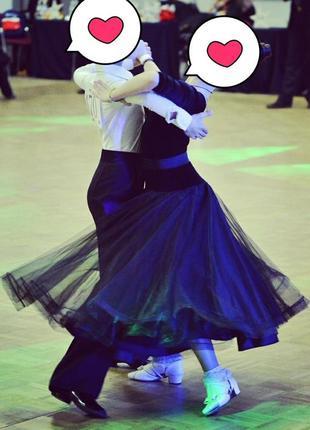 Платье для бальных танцев,стандарт-латина 2 юбки.рост 128-134-140.