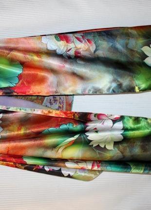 Палантин шарф натуральный шёлк двусторонний батик