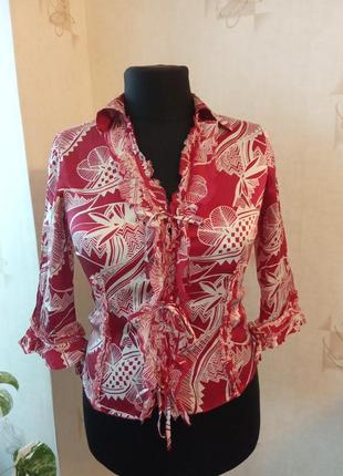 Натуральная моделирующая блуза, на завязках, жатка