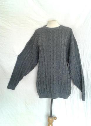 Шерстяной лама серый свитер, джемпер  с приспущенными плечами ,l-2xl.