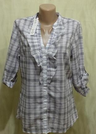 Тонкая котоновая блуза-рубашка marks&spencer, р.12