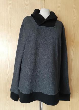 Классный cерый  свитер, джемпер на флисе с отложным воротником, l-2xl.