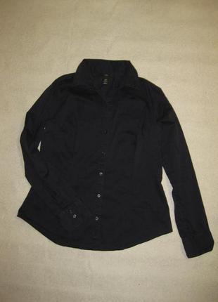 175 рост, размер l, базовая тёмно-синяя рубашка хлопковая стрейчевая от h&m