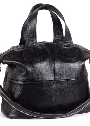 Стильная черная большая кожаная сумка разные цвета