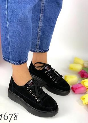 Новые женские кожаные чёрные кроссовки кеды
