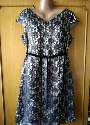 Кружевное гипюровое платье george, uk18/eur46