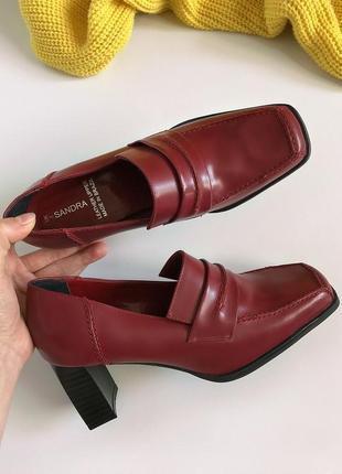Новые брендовые натуральные кожаные туфли с квадратным носком sandra (бразилия)