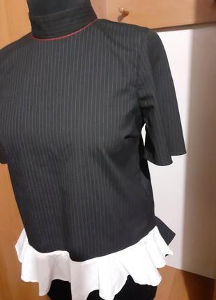 Блуза блузка в полоску вертикальная полосочка свободного кроя с воротом стойка