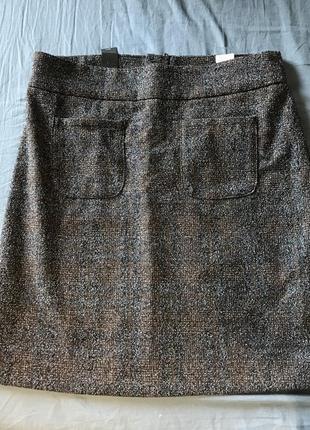 Шерстяная юбка в клетку твид трапеция