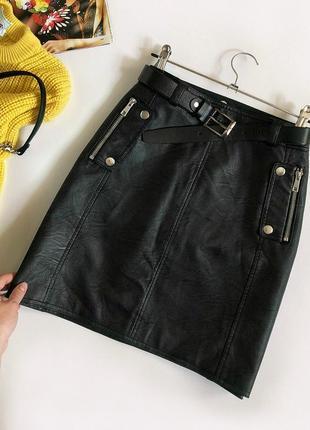 Обалденная кожаная юбка topshop