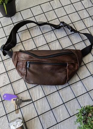 Большая бананка из натуральной кожи, сумка на пояс вместитетльная horse коричневая б14