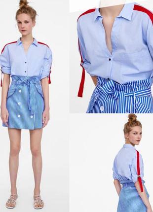Фірмова блакиитна рубашка з лампасом