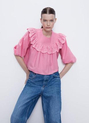 Розовая белая рубашка блуза топ зара zara