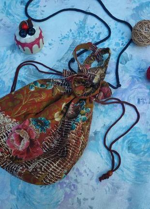 Тканевая сумочка мешочек,можно через плечо