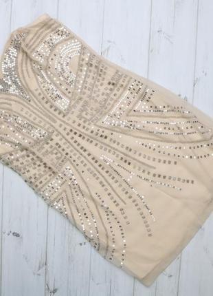 Женское коктейльное платье бюстье с пайетками h&m, р. s