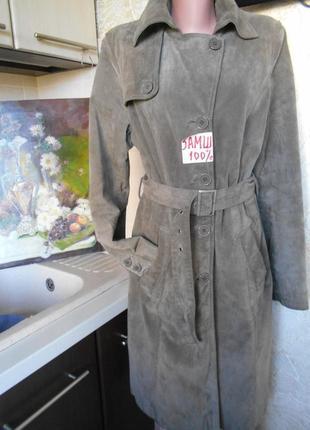 # распродажа#we#винтажный плащ\пальто с поясом 100% замш #пальто оригинал #