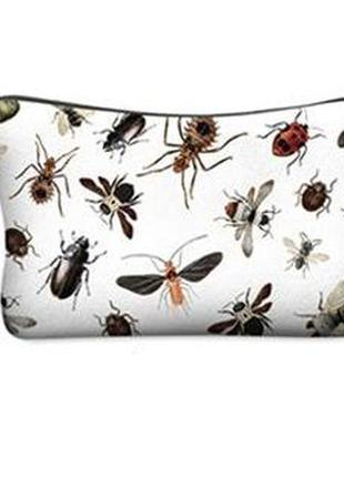 Косметичка - клатч с принтом жуков