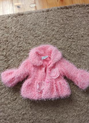 Розовая нарядная шубка, пальто на девочку 1-3 годика