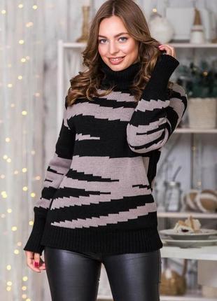 Теплый свитер овесайз капучино и черный