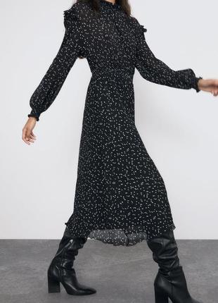 Zara платье в горох в плиссировку, xs, s, m, l