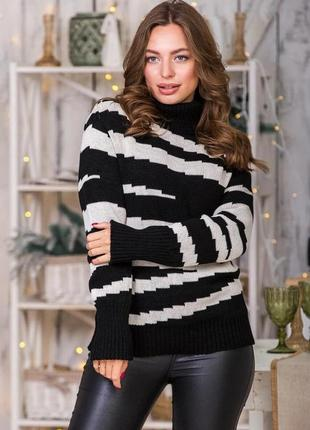 Теплый свитер оверсайз цвет льна и черный
