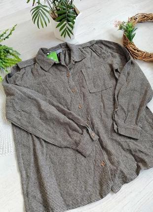 Рубашка гусиная лапка мелкая бежевая черная оверсайз можно для беременных теплая