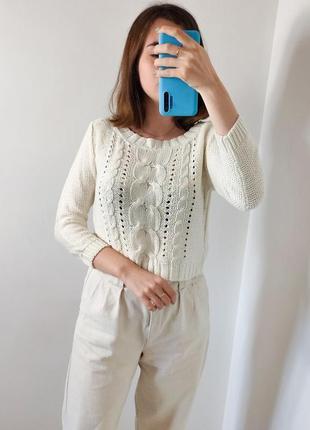 Женский молочный свитер кофта