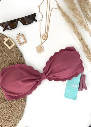 Купальный новый топ h&m верх бикини купальника лето розовый пудровый бондо бандо