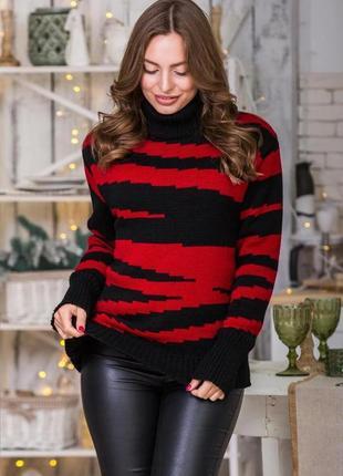 Теплый вязаный свитер оверсайз вишнево-черный