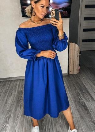 Стильное льняное синее  платье миди с пышными рукавами лен