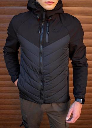 Осенняя куртка ветровка бомбер, комбинированная