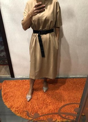 Платье футболка миди с карманами