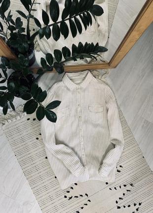 Лляна рубашка в полоску від marks&spencer🌿