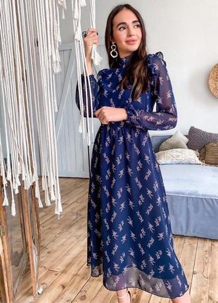 Платье 👗 женское шифоновое на подкладке синее