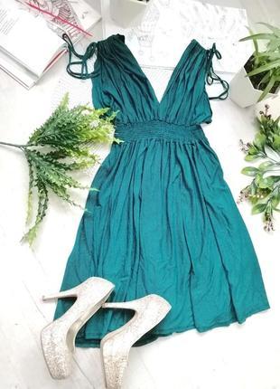 Платье повседневное миди зеленое изумрудное в мелкую вертикальную полоску river island