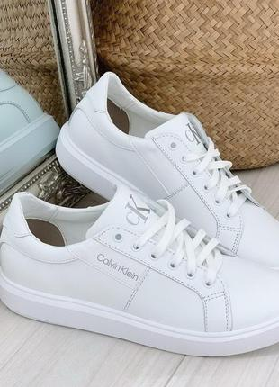 Новые женские кожаные белые кроссовки кеды