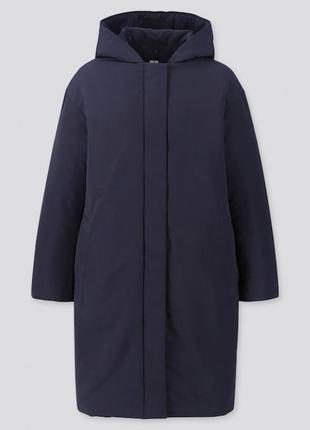 Темно-синее пальто-кокон от uniqlo