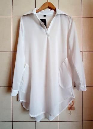 Белоснежная новая шифоновая рубашка q&t