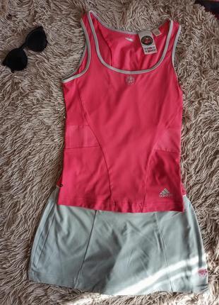 Спортивный комплект майка и шорты розовый серый
