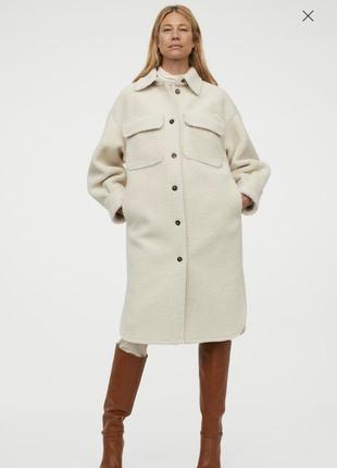 Тёплая рубашка шерпа пальто беж длинная рубашка