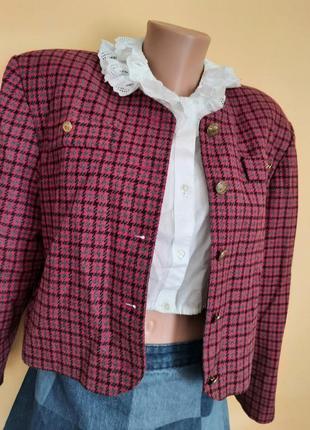 Піджак блайзер шерсть тонке пальто укорочене vintage гусиная лапка