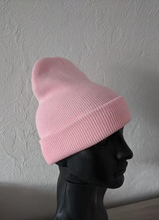 Шапка бини. розовая.