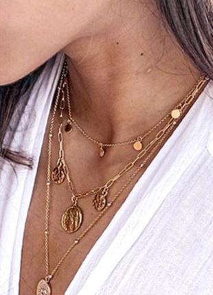 🌺😍🍀чокер с монетами цепочка цепь колье ожерелье золотистое многоярусная цепь 3 в 1