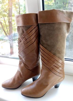 Демисезонные кожаные замшевые сапожки 37 размер