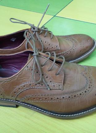 Кожаные туфли оксфорды, броги next р 39 (25.5 см) унисекс индия кожа
