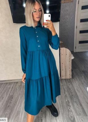 Стильное свободное платье с завышенной талией