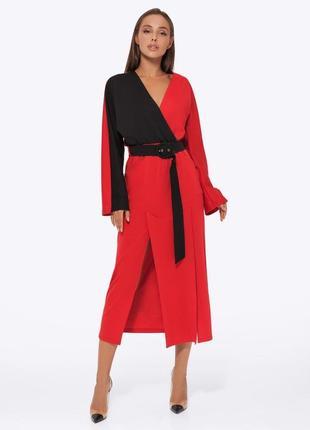 Платье женское трикотажное aniti 551, красно-черный (пояс черный)