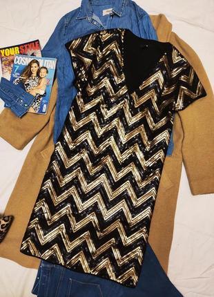 Платье чёрное золотое с пайетками прямое трапеция h&m