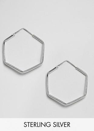 """💐✨ серебряные серьги-колечки """"гексагон"""" шестиугольник kingsley ryan asos"""