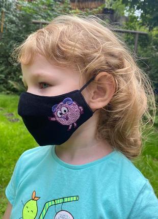 Маска многоразовая «бараш» черная детская 3-6 лет batiar